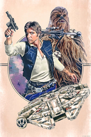 Artwork inspired by Star Wars: A New Hope featuring Han Solo and Chewbacca.