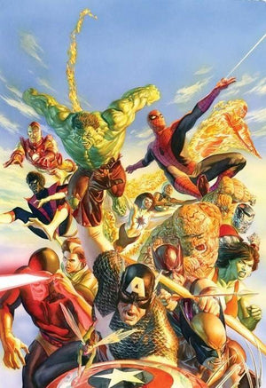 Superheroes task force - Colossus, She-Hulk, Night Crawler, Iron Man, Hulk, Aurora, Storm, Spider-Man & Human Torch.