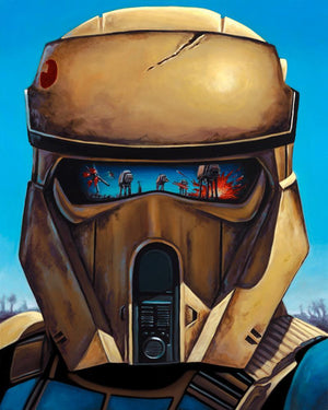 Trooper's helmet reflects the battle - Canvas