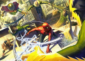 Spider-Man does battle with Doctor Octopus, Vluture, Electro, Kraven the Hunter, Mysterio and Sandman