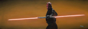 Darth Maul displays his double-bladed lightsaber made by joining two hilts together end-to-end.sided.