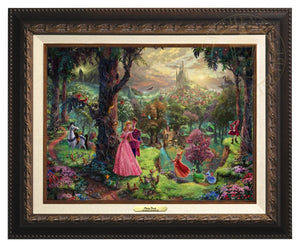 Princess Aurora and Prince Phillip, are surrounded by their friends from the forest and the three good fairies, Flora, Fauna, and Merryweather - Aged Bronze Frame