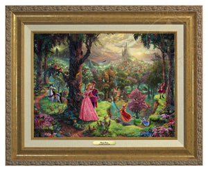 Princess Aurora and Prince Phillip, are surrounded by their friends from the forest and the three good fairies, Flora, Fauna, and Merryweather - Antique Gold Frame