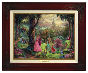 Princess Aurora and Prince Phillip, are surrounded by their friends from the forest and the three good fairies, Flora, Fauna, and Merryweather - Brandy Frame