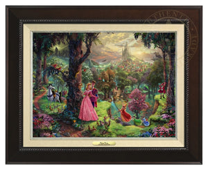 Princess Aurora and Prince Phillip, are surrounded by their friends from the forest and the three good fairies, Flora, Fauna, and Merryweather - Espresso Frame