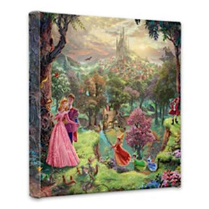 Prince Phillip holds his awakened beauty Aurora - Sleeping Beauty as her fairy godmothers gather around in this rich and colorful landscape you can see the quaint village and the towering castle from a distance.