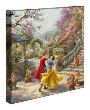 A romantic scene takes place in the courtyard of the kingdom's castle, where Snow White and all of her friends celebrate the defeat of the wicked Queen and reunites with her true love.
