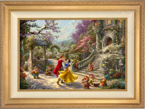 Snow White and the Prince dancing in the courtyard, accompanied by the Seven Dwarfs - Antique Gold Frame