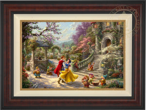 Snow White and the Prince dancing in the courtyard, accompanied by the Seven Dwarfs - Burl Frame