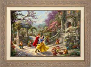 Snow White and the Prince dancing in the courtyard, accompanied by the Seven Dwarfs - Carrisa Frame