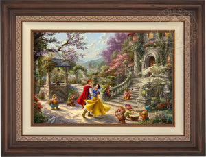 Snow White and the Prince dancing in the courtyard, accompanied by the Seven Dwarfs - Dark Walnut Frame