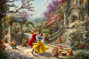 Snow White and the Prince dancing in the courtyard, accompanied by the Seven Dwarfs - Closeup