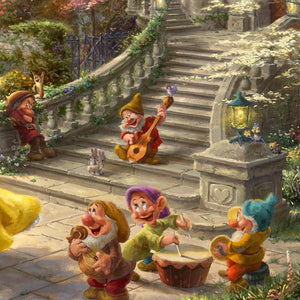 Dwarfs: Doc, Dopey, Grumpy, Happy, Sleepy, Bashful and Sneezy are all in the courtyard, playing their instruments for their friends - closeup