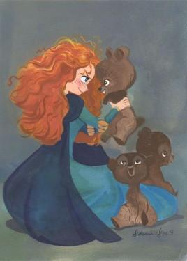 Merida starts crying again and calls out until her brothers show up… but they, too, have been turned into bears for eating of the cursed cake. She tells them to get the key. They release Merida, and all four rides on Angus while Merida frantically sews up the tapestry - Canvas