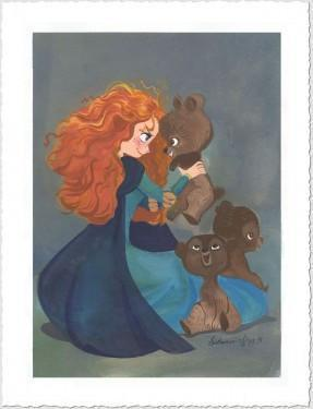 Merida starts crying again and calls out until her brothers show up… but they, too, have been turned into bears for eating of the cursed cake. She tells them to get the key. They release Merida, and all four rides on Angus while Merida frantically sews up the tapestry - Paper