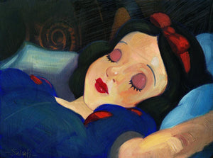 Snow White by Jim Salvati. (LOW)  Snow White is asleep in the cottage.