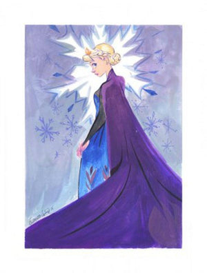 Elsa in a wearing in a purple cape, with a snow flake aura aound her.