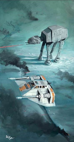 The Battle of Hoth, the Snow Speeder and AT-AT Walker collide.