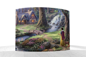 Disney – Snow White Discovers the Cottage by StarFire Prints™ Curved Glass     Snow White wanders the forest and stumbles upon a tiny cottage across the bridge. - Back