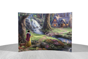 Disney – Snow White Discovers the Cottage by StarFire Prints™ Curved Glass     Snow White wanders the forest and stumbles upon a tiny cottage across the bridge.