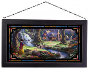Snow White Discovers the Cottage - Framed Glass Art