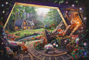 Snow White and the Seven Dwarfs - Dwarfs in the Diamond mines and Cottage at a distance - unframed