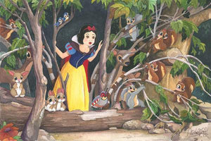 Snow White discovers the  Seven Dwarfs cottage...