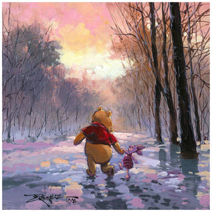Snowy Path by Rodel Gonzalez.  Winnie the Pooh and his friend Piglet take a winter day stroll through a snowy path - closeup