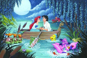 Ariel and Prince Eric are falling in love, under the moonlight, inspired by Disney's storybook fairy tale.