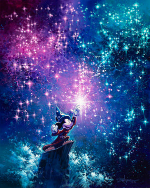 Sorcerer's Apprentice Mickey fills the night sky with colorful magical star-lights.