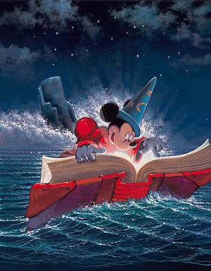 Sorcerer's Apprentice Mickey searches the wizards book for magical spells