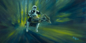 On Endor, scout troopers riding speeder bikes patrolled the forests.