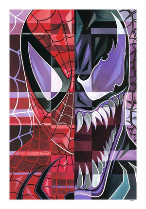 Tim's compositions of Spider-Man and the Venom are broken into simple shapes, with each shape having its unique palette.