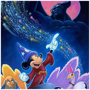 "Splashes of Fantasia by Tim Rogerson   Mickey the Sorcerer whips up and awaken Chernobog the ""black god"" and as the magical creatures including an unhappy Yen Sid the powerful sorcerer watch - closeup"