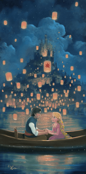 Star Crossed Love by Rob Kaz.  Rapunzel and Flint are surrounded by the floating lanterns lighting the night sky, as they hold hands and fall in love.