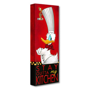 Stay Outta My Kitchen by Tim Rogerson  Chef Donald has a serious look with his armed crossed in this billboard style cameo pose...a closer look you will spot Chip and Dale hunging from on top of Donald's chef hat holding a salt shaker.