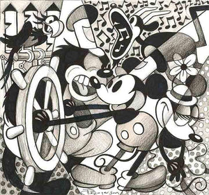A classic in black and white - with Mickey at the wheel, Peg-Leg Pete yelling at Mickey.