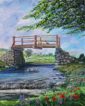 Summer by Peter and Harrison Ellenshaw  Winnie the Pooh and Roo watch Eeyorefrom the bridge as he floats in the river.