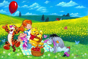 Winnie the Pooh and friends enjoy a Summer Picnic in a field covered in yellow mustard flowers