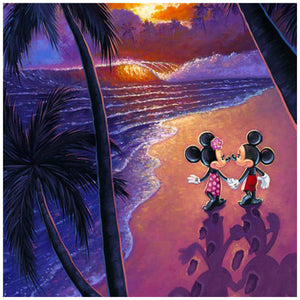 Sunset Stroll by Tim Rogerson   Mickey and Minnie stroll  the beach holding hands, at sunset - closeup