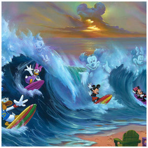 Surfing with Friends by Jim Warren  Mickey, Minnie, Donald, and Daisy having fun surfing, you can also see images of them formed in the waves, the sunset clouds are in the form of Mickey's head - closeup