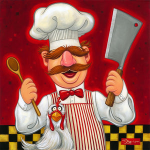 The Swedish Chef is ready to prepare his chicken meal, with a wood spoon on one hand and a butcher knife on the other
