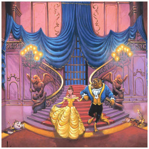 Tales as Old as Time by Rodel Gonzalez.  Belle in her beautiful yellow gown and the Beast make a big entrance as the castle's enchanted servants greet them at the bottom of the stairs.