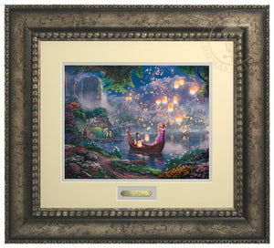 Tangled by Thomas Kinkade Studios  The panoramic portrayal captures the newfound love of Rapunzel and Flynn as they boat together on her 18th birthday - Antiqued Silver Frame
