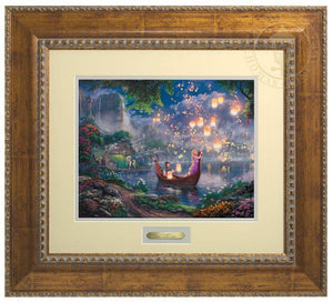 Tangled by Thomas Kinkade Studios  The panoramic portrayal captures the newfound love of Rapunzel and Flynn as they boat together on her 18th birthday - Antiqued Gold Frame