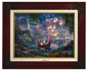 Tangled by Thomas Kinkade  The new found love of Rapunzel and Flynn as they boat together on her 18th birthday - Antique Gold Frame