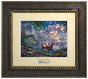 Tangled by Thomas Kinkade Studios  The panoramic portrayal captures the newfound love of Rapunzel and Flynn as they boat together on her 18th birthday - Bronzed Gold