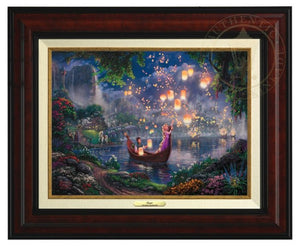 Tangled by Thomas Kinkade  The new found love of Rapunzel and Flynn as they boat together on her 18th birthday- - Burl Frame