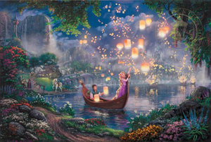 Rapunzel and Flynn on a boat watching the lantern go up.