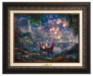 Tangled by Thomas Kinkade  The new found love of Rapunzel and Flynn as they boat together on her 18th birthday - Aged Bronze Frame